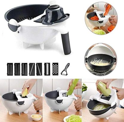 Magic Multi functional Rotate Vegetable Cutter With Drain Basket